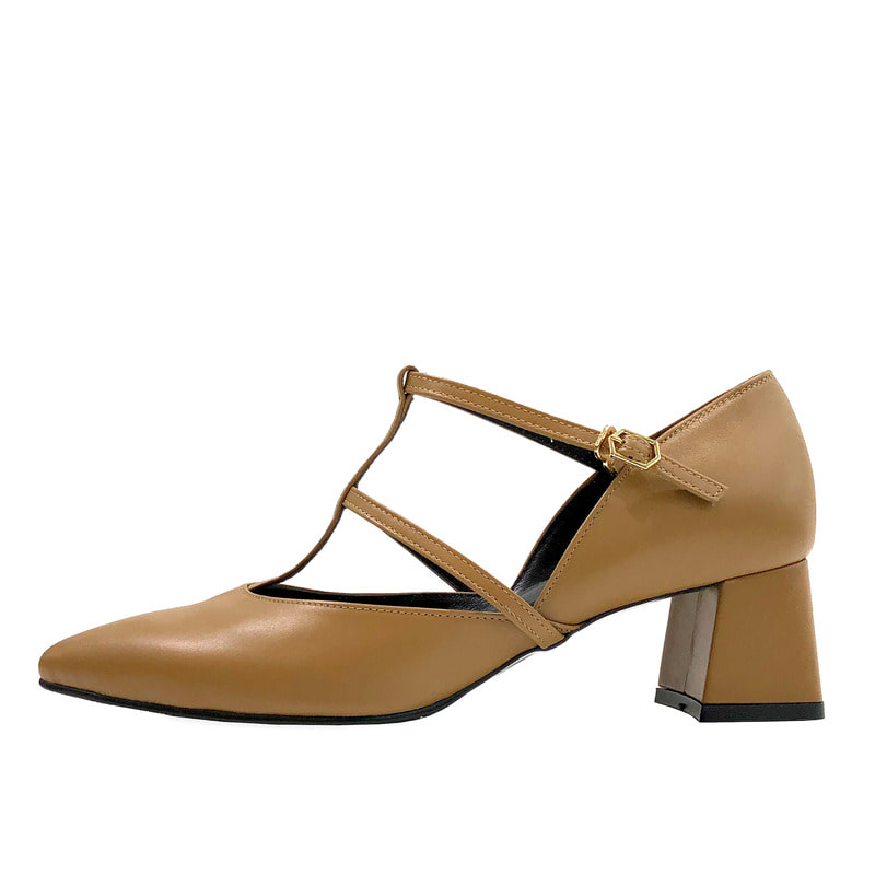 Cross strap heel, camel