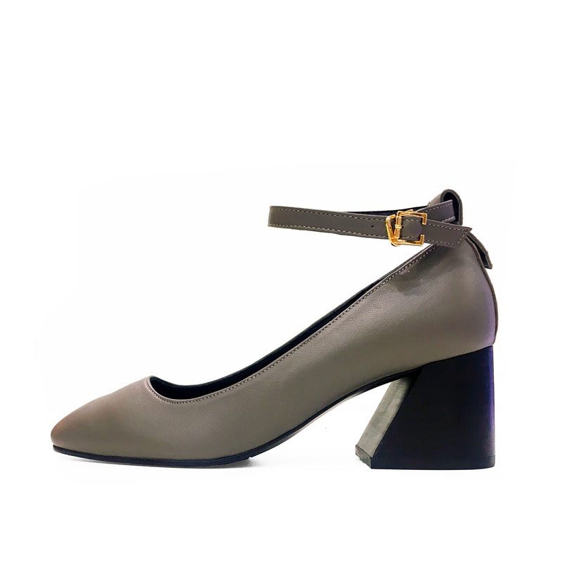 Strap Stacked Heel, Gray
