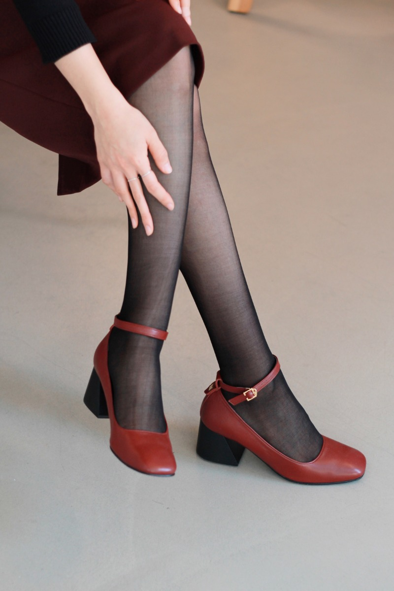 Strap Stacked Heel, Wine