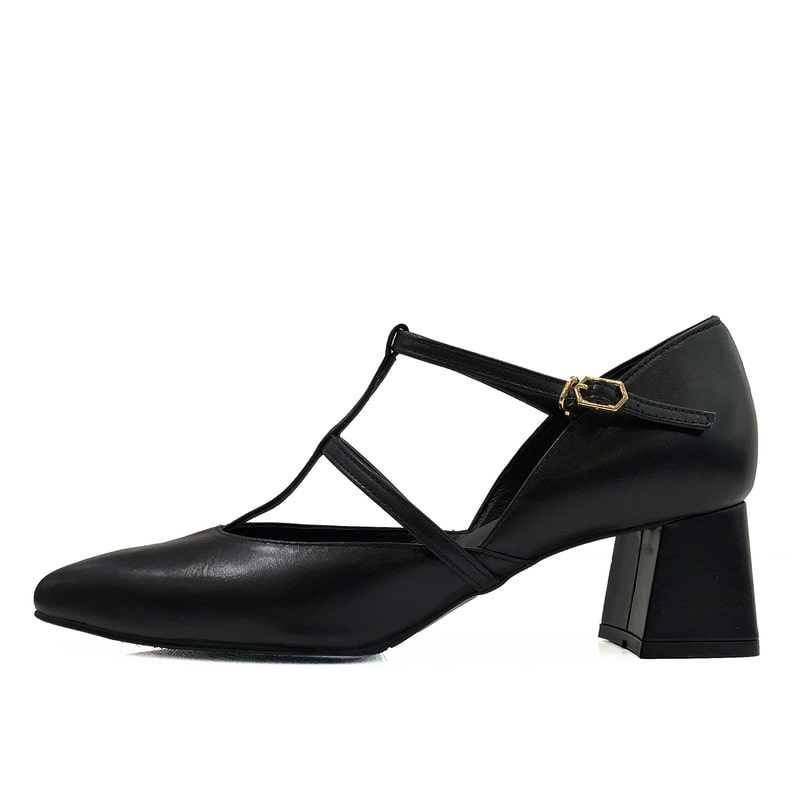 Cross strap heel, black