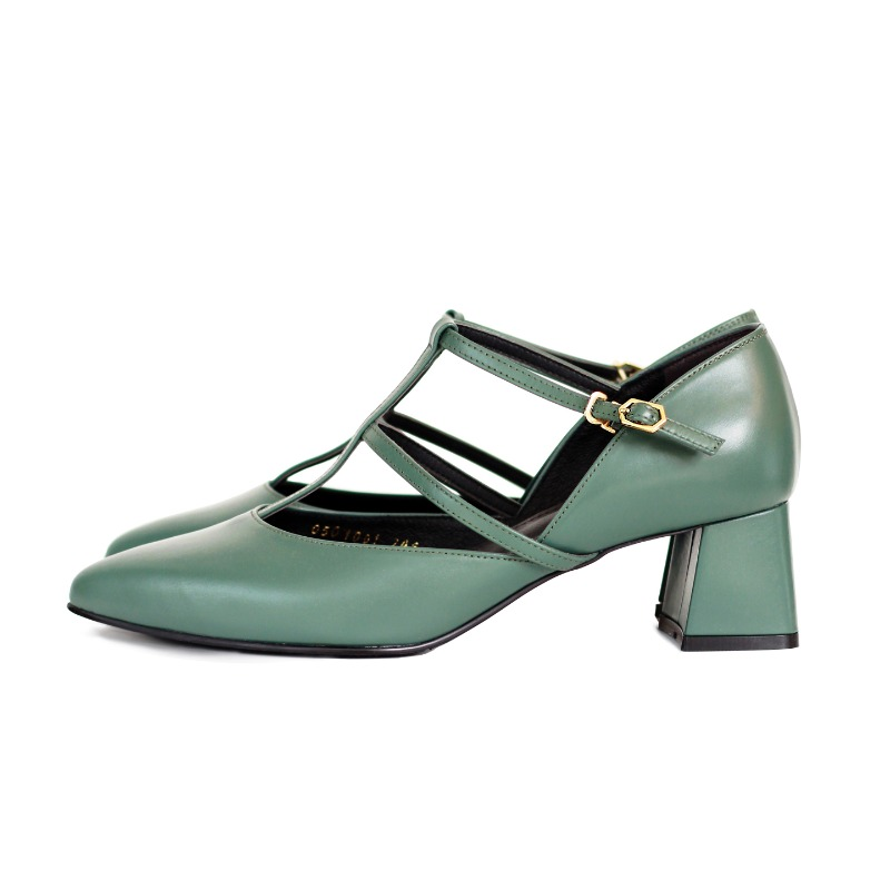 Cross strap heel, green