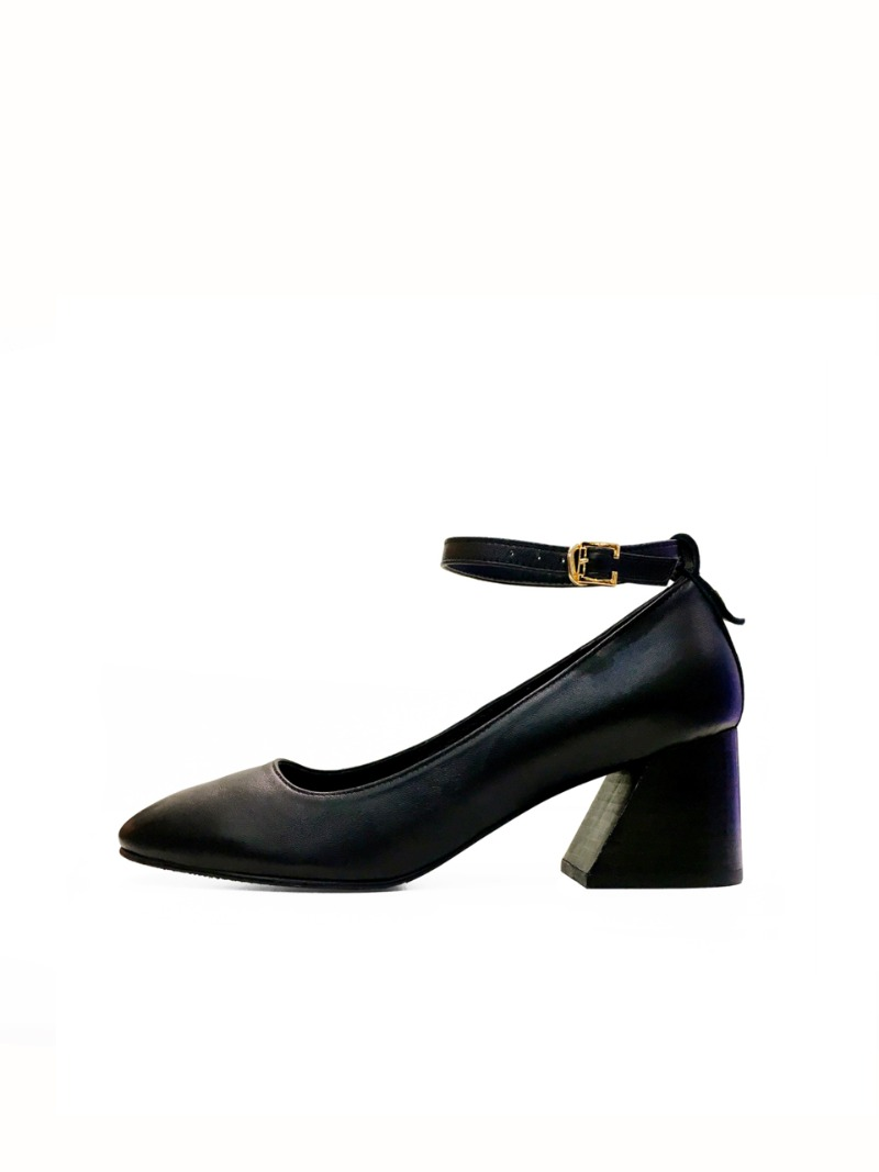 Strap Stacked Heel, Black